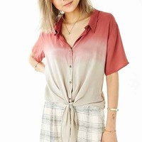 Moon & Sky Tie-Front Button-Down