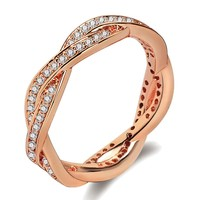 Rose Gold Rings For Women Engagement Ring Trendy Jewelry Crystal Rhinestone Wedding Gifts For Women KYRA031