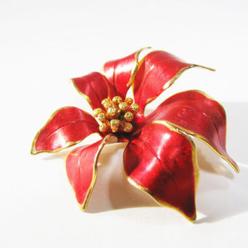 Christmas Brooch Pin - Vintage Red Poinsettia Pin - Signed Cerrito - Christmas Gift