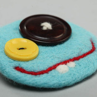 Brooch wool felting technique blue funny smiley with buttons handmade accessory