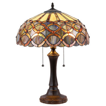 "Prisma, Tiffany-Style 2 Light Table Lamp 16"" Shade"