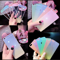 Front back Premium Tempered Glass Gradient Colorful Cover Screen Protector Case For Iphone 5 5s 6 6s Plus