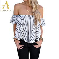 Women Blouse Blue White Sexy Off Shoulder Top Women's Shirt Loose Slash Neck Shirts Blouses 2016 New Fashion Ruffles Sleeve