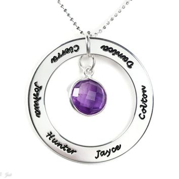Engraved Sterling Silver Disc Necklace with Choice of Natural Gemstone Center