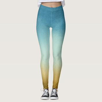 Modern Blue and Gold Ombre Leggings