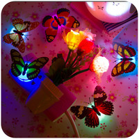 1PCS Creative Colorful Colorful Nightlight Nightlight Paste Button Type Decorative Lamp Butterfly