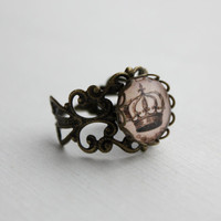 SHOP SALE- Vintage Inspired Crown Statement Ring.  Adjustable.