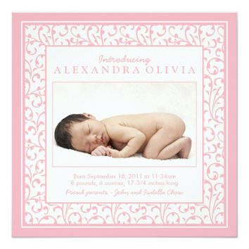 """Baby Girl Photo Damask Floral Birth Announcement 5.25"""" Square Invitation Card"""