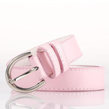 Pink Bonded Leather Belt With Metal Buckle