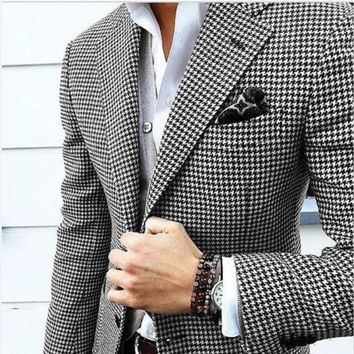 Handsome Groomsmen Houndstooth Groom Tuxedos Shawl Satin Lapel Men Suits Wedding/Prom Best Man Blazer ( Jacket+Pants+Tie) C345