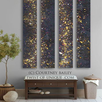 Stars Abstract painting - 4 panel CUSTOM AcryliCrete Wall Art, abstract home decor,- black, purple, white, yellow,