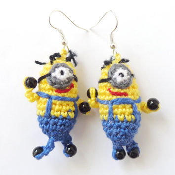 Despicable Me Minion Earrings - Crocheted Soft Earrings 1 pair