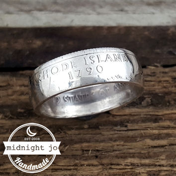 Rhode Island 90% Silver State Quarter Coin Ring