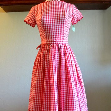 Amazing Vintage Pixie of California Dress, Red Gingham Fabric, Stunning Back, New Old Stock with Tags, size 7, circa 1960s