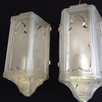 Antique Pair Art Deco Slip Shade Wall Sconces Complete with Holders 1920s
