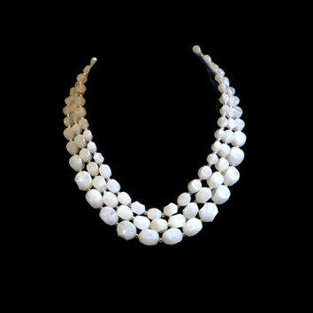 Vintage Multi Strand Necklace Layered Necklace Triple Strand Necklace With White Lucite Marbleized Beads Bridal Necklace Wedding Necklace