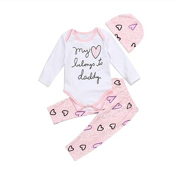 Pudcoco 2017 Newborn Toddler Infant Baby Girls Heart Lovely Romper Pink Pants Daddy Hat Clothes Outfit Set