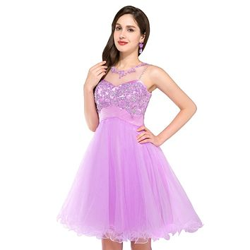 Free Shipping High Neck Teens Short Homecoming Prom Dresses with Stones Purple Blue Pink Ball Dress 2017 Evening Prom Gowns 6151