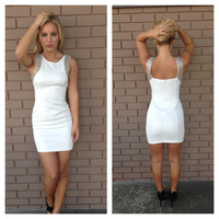 White Bead Mini Dress