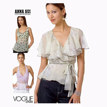 VOGUE SEXY HALTER Top Pattern Feminine Blouse Pattern Anna Sui Vogue 2850 American Designer Size 6 8 10 UNCuT 2000s Womens Sewing Patterns