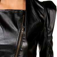 Black Faux Leather Point Hem Moto Jacket