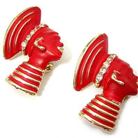 Nubian Princess Red Scatter Pins, Pair of Two, Ringed, Rhinestones and Goldtone Accents, Vintage 1950s Jewelry, Headdress