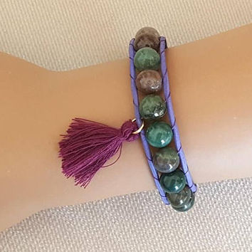 Leather wrap bracelet, agate bracelet, green agate, purple tassel bracelet, christmas gift, beaded bracelet, boho bracelet