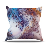 "KESS Original ""Snow Agate"" Blue Orange Outdoor Throw Pillow"
