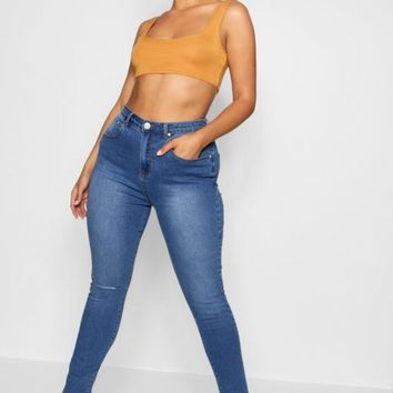 Plus Steph One Ripped Knee High Rise Skinny Jean | Boohoo