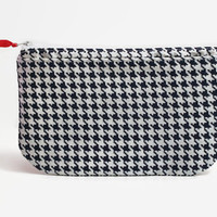 Heat Sealed Mama Cloth Wet Bag with Dry Pocket-- Navy Hounds Tooth with Red Ribbon Zipper Pull