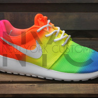 Neon Vibes Nike Roshe One Run White Tie Dye Custom