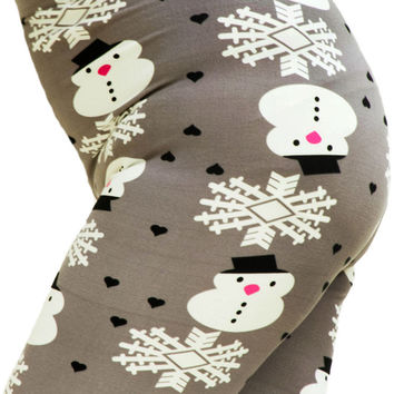 Women's Regular Colorful Holiday Grey Snowman Design Printed Leggings - One Size / Grey