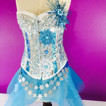 Ice queen costume / drag queen / white corset / performance / frozen / dance costume