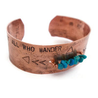 recycled copper boho bracelet // hand stamped tribal cuff