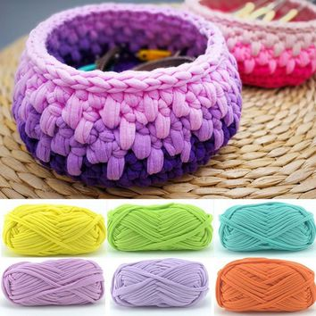 Hand-knit Woven Thread Thick Basket Blanket Braided DIY Crochet Cloth Fancy Yarn