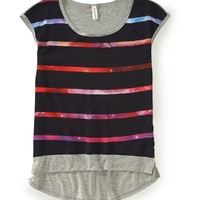 Striped Chiffon-Front Top