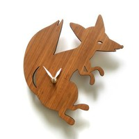 Modern Animal Clock Fox by decoylab on Etsy