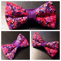 Pink spots bow tie