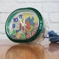 Ingraham See Through Alarm Clock / Retro Clear Case with Colorful Gears / Vintage Electronics