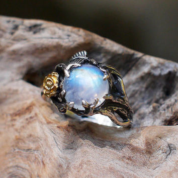 "Sterling Silver Rainbow Moonstone Ring ""Cleo"" READy R, moonstone engagement ring,delicate ring,flower ring, rose ring"