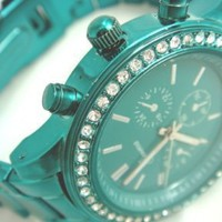Mint Green Metal Band Crystal Accented Geneva Watch
