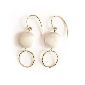 Bali Pearl Bezeled Drop Earrings