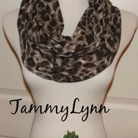 Brown Black Leopard Print Cotton Spandex Knit ,Cheetah, Animal Print LONG Infinity Scarf Womens Accessories Tammy Lynns Creations