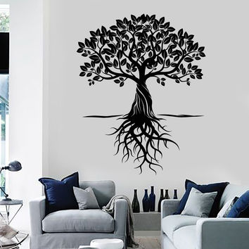 Vinyl Wall Decal Tree Roots Leaves Home Art Decor Stickers Murals Unique Gift (ig4763)