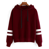 Simple Korean Style Cotton blend Womens hoodies Long Sleeve Hoodie Sweatshirt Jumper Hooded Pullover Tops sudaderas mujer 2016