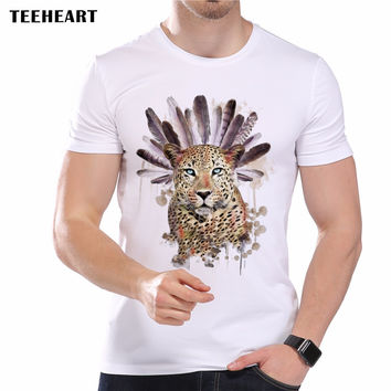 Summer Men's T-Shirt Cute Leopard Head Feathers Printed Short Sleeve O-Neck Modal Hipster Tops Tees