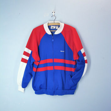 70s mens track jacket - MAC GREGOR striped retro jacket - red white blue - extra large