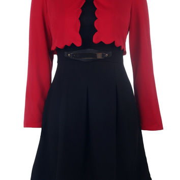 Graceful Scoop Collar Long Sleeve Solid Color Blazer + Faux Belt Embellished Dress Twinset