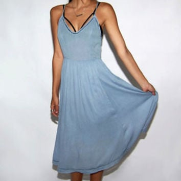 Lovely Blue Chambray Midi Dress