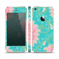 The Pink & Teal Paisley Design Skin Set for the Apple iPhone 5s